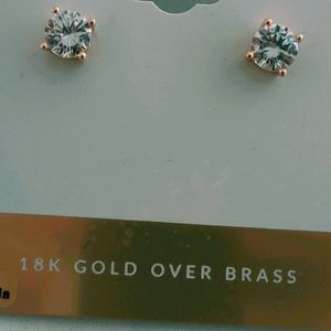 🆕💖 18 K Gold over Brass Zirconia Earrings ✨